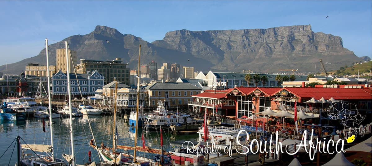 イメージ写真_世界のうまずっぱい料理_南アフリカ_街並みと地図
