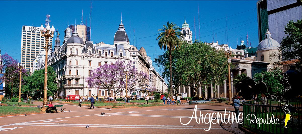 イメージ写真_世界のうまずっぱい料理_アルゼンチン共和国_街並みと地図