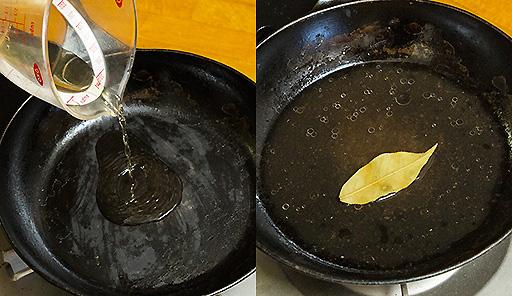 調理工程03_フライパンに酢を入れて熱し、月桂樹の葉・トマトピューレを加える