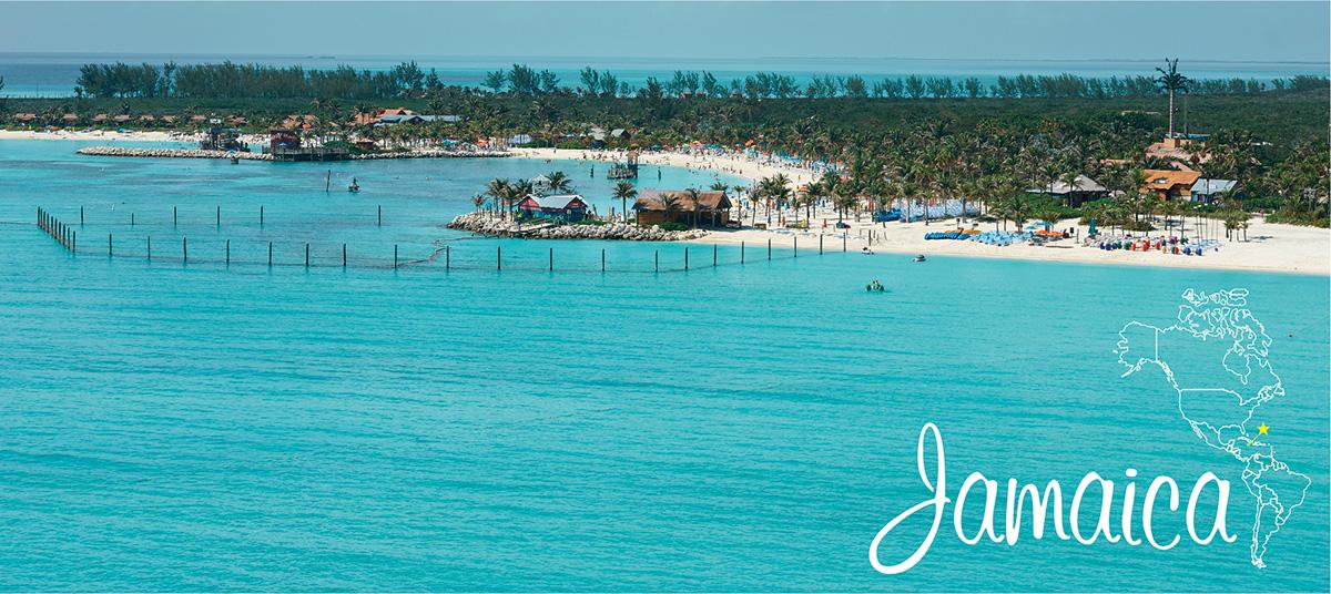 イメージ写真_世界のうまずっぱい料理_ジャマイカ_街並みと地図