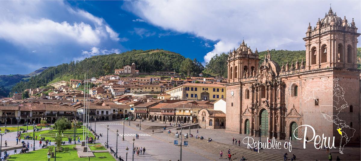 イメージ写真_世界のうまずっぱい料理_ペルー共和国_街並みと地図
