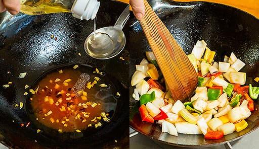 調理工程03_リンゴ酢・ケチャップ・ナンプラー・水を加えて混ぜ、ピーマンとたまねぎを炒める