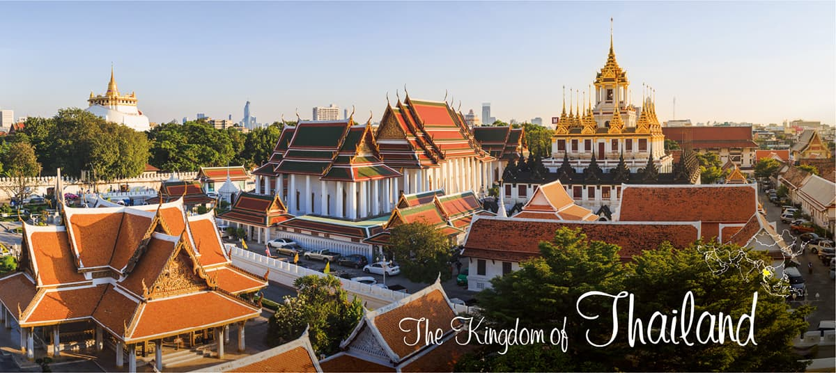 イメージ写真_世界のうまずっぱい料理_タイ王国_街並みと地図