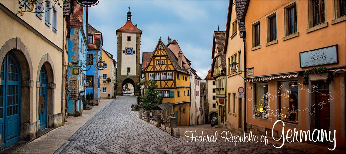 イメージ写真_世界のうまずっぱい料理_ドイツ_街並みと地図