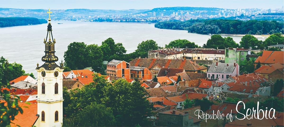 イメージ写真_世界のうまずっぱい料理_セルビア共和国_街並みと地図