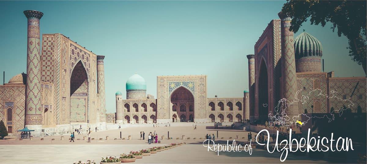 イメージ写真_世界のうまずっぱい料理_ウズベキスタン共和国_街並みと地図