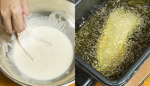 調理工程04_天ぷら鍋まはた電気フライヤーを用意し、衣をまぶした魚の切り身をきつね色になるまで揚げる