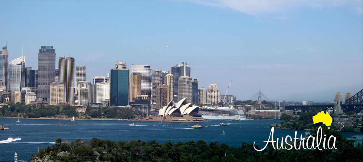 イメージ写真_世界のうまずっぱい料理_オーストラリア連邦_街並みと地図