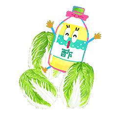 イラスト_お酢のすーちゃんと白菜